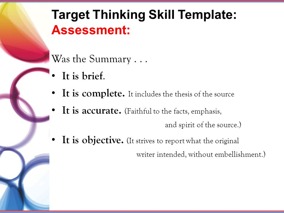 Target Thinking Skill Template: Assessment: