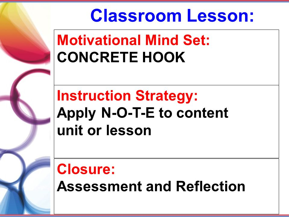 Classroom Lesson: Motivational Mind Set: CONCRETE HOOK
