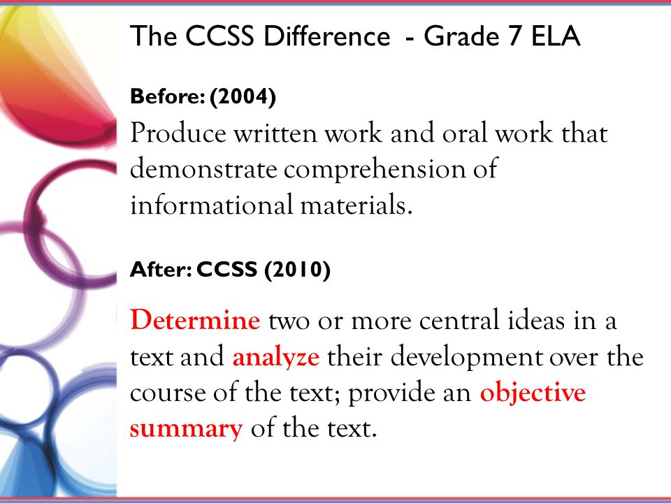 The CCSS Difference - Grade 7 ELA