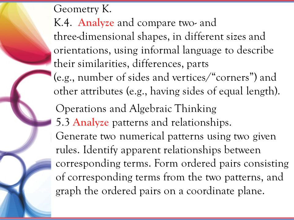 Geometry K. K.4. Analyze and compare two- and. three-dimensional shapes, in different sizes and orientations, using informal language to describe.