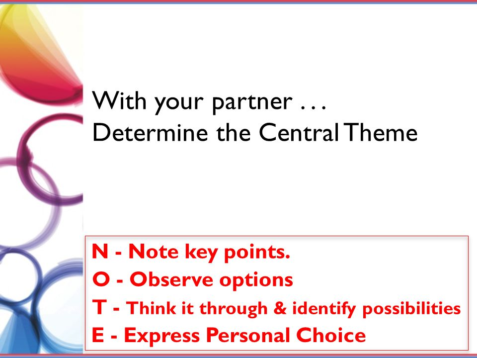 Determine the Central Theme