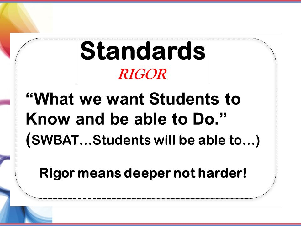 Standards What we want Students to Know and be able to Do.