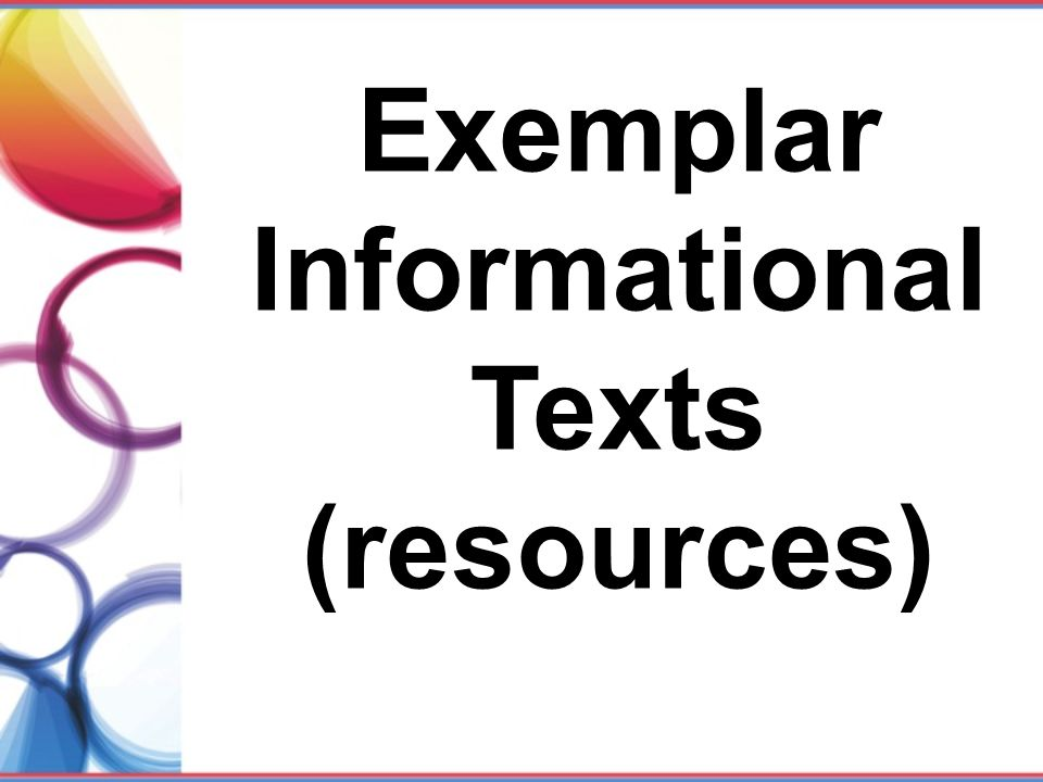 Exemplar Informational Texts (resources)