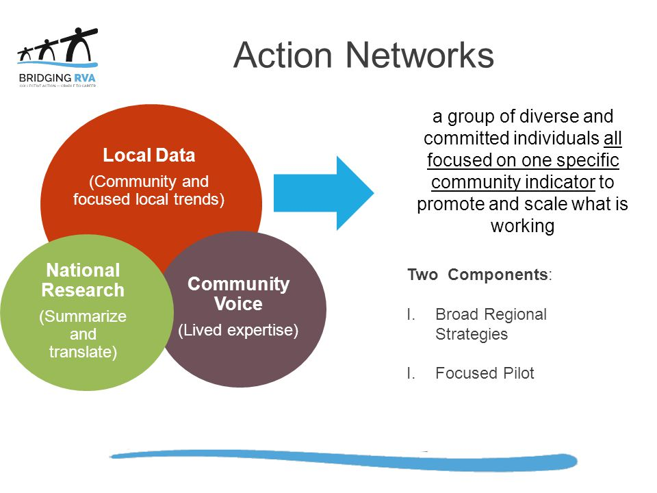 Action Networks Local Data. (Community and focused local trends) Community Voice. (Lived expertise)