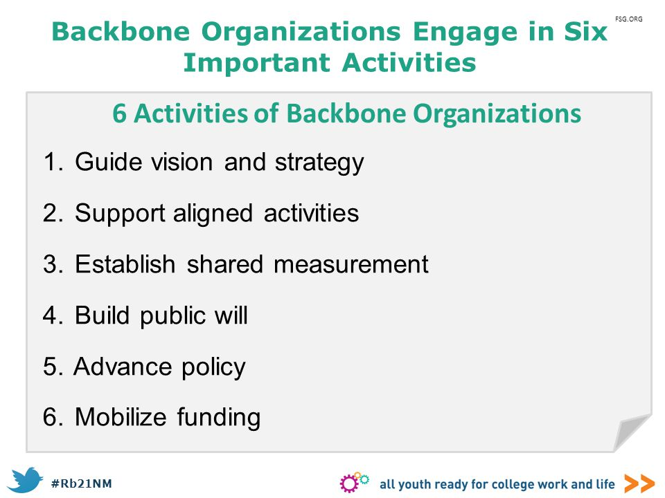 Backbone Organizations Engage in Six Important Activities
