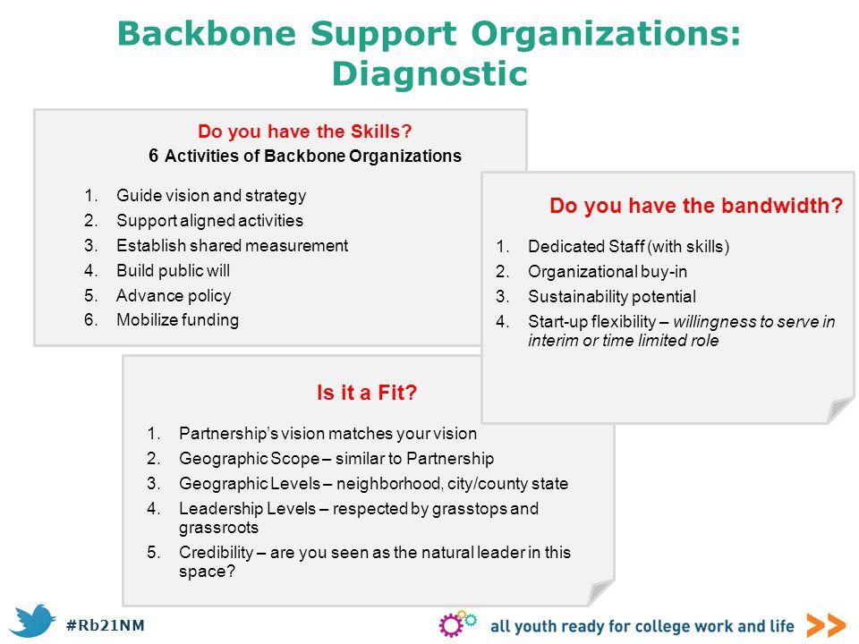 Backbone Support Organizations: Diagnostic