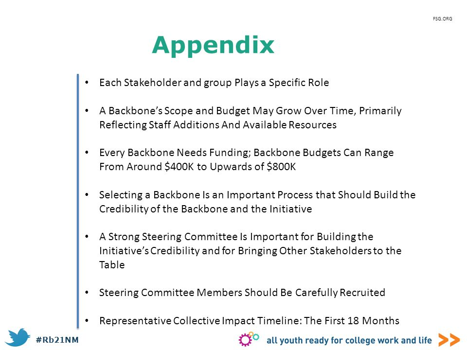 Appendix Each Stakeholder and group Plays a Specific Role