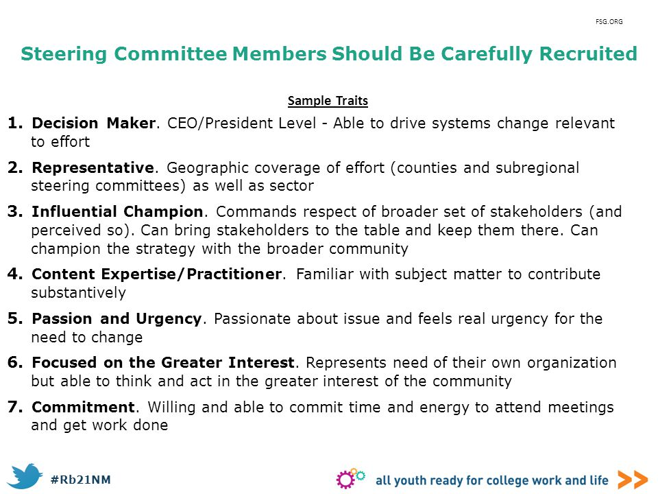 Steering Committee Members Should Be Carefully Recruited