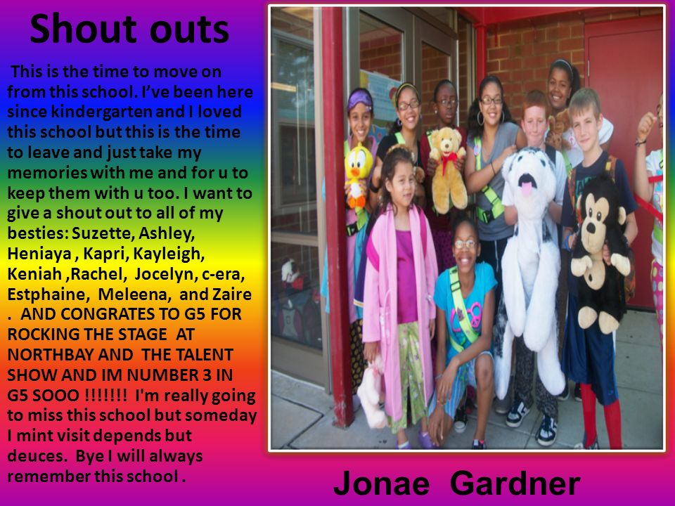 Shout outs Jonae Gardner