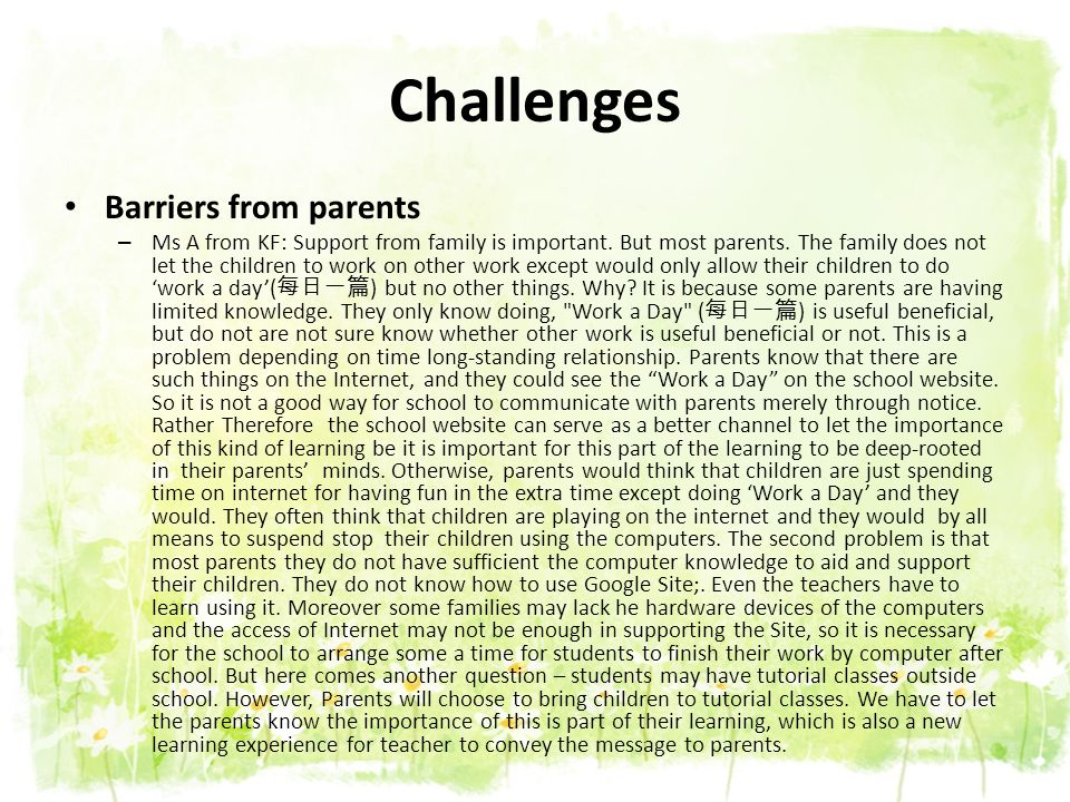 Challenges Barriers from parents