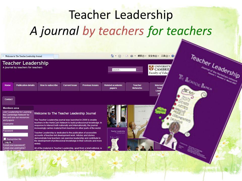Teacher Leadership A journal by teachers for teachers