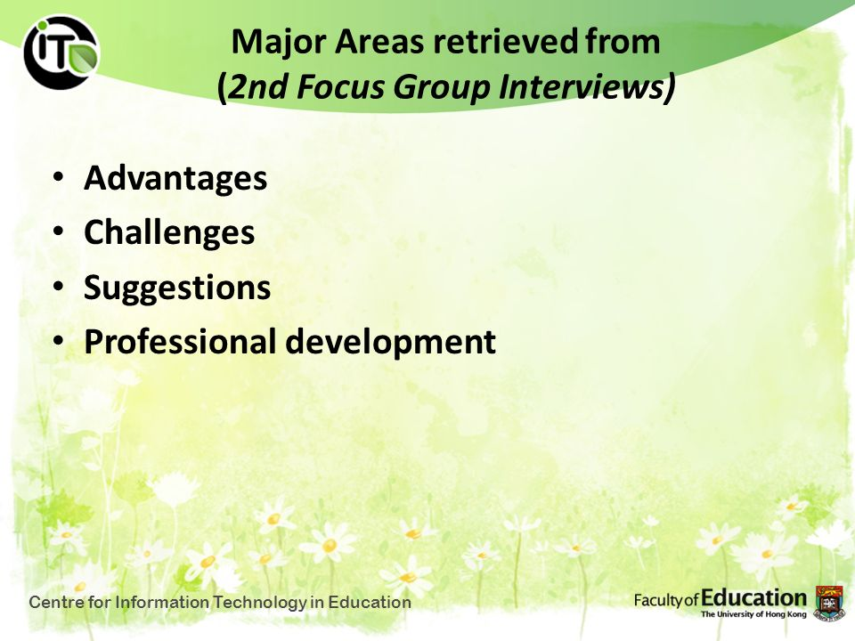 Major Areas retrieved from (2nd Focus Group Interviews)