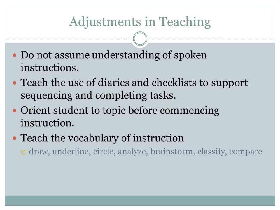 Adjustments in Teaching