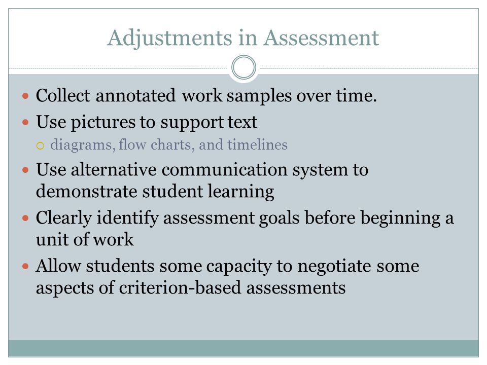 Adjustments in Assessment