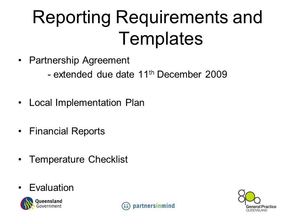 Reporting Requirements and Templates