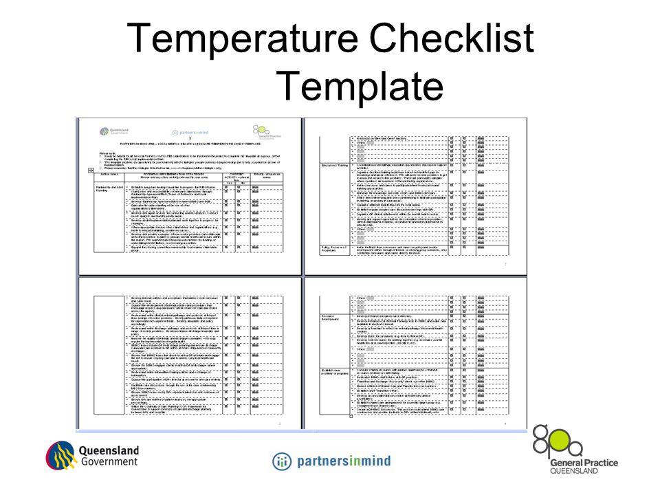 Temperature Checklist Template