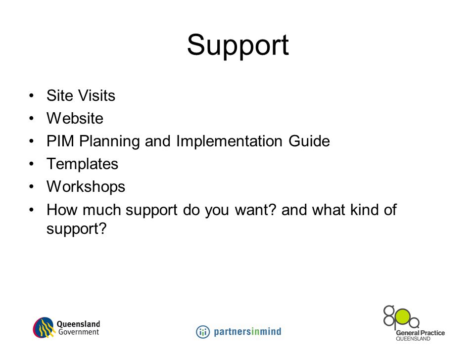 Support Site Visits Website PIM Planning and Implementation Guide