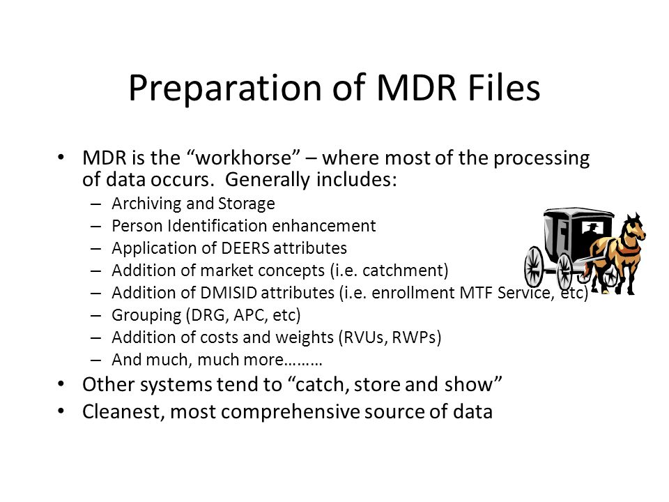 Preparation of MDR Files