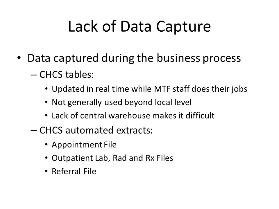 Lack of Data Capture Data captured during the business process