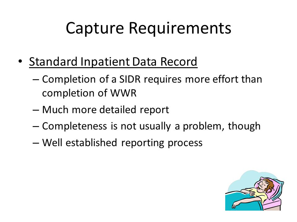 Capture Requirements Standard Inpatient Data Record