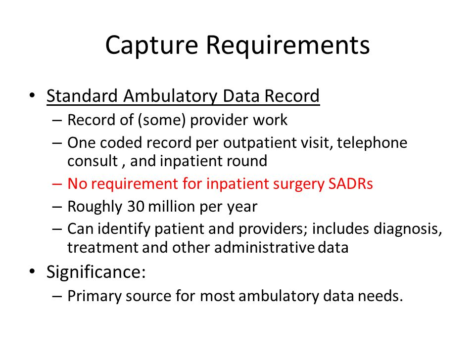 Capture Requirements Standard Ambulatory Data Record Significance: