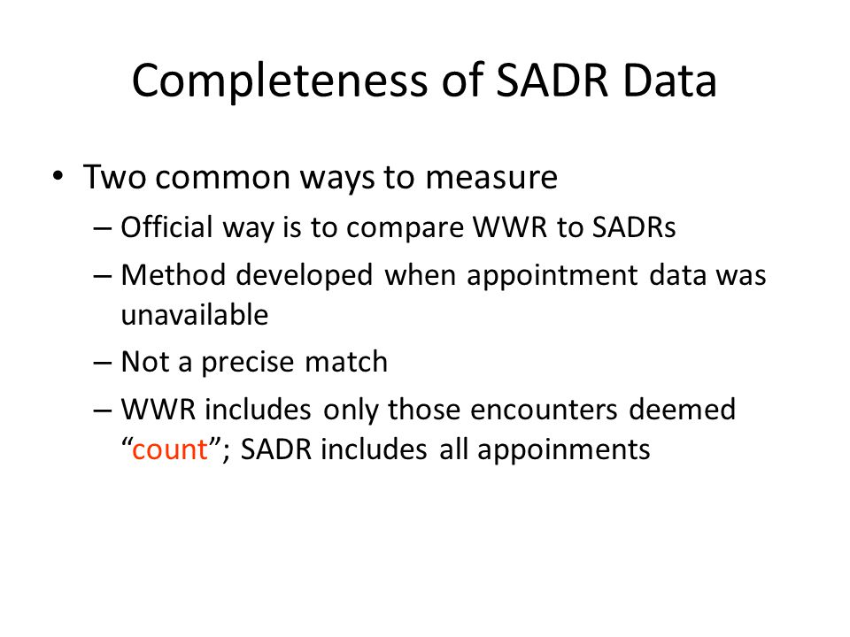 Completeness of SADR Data