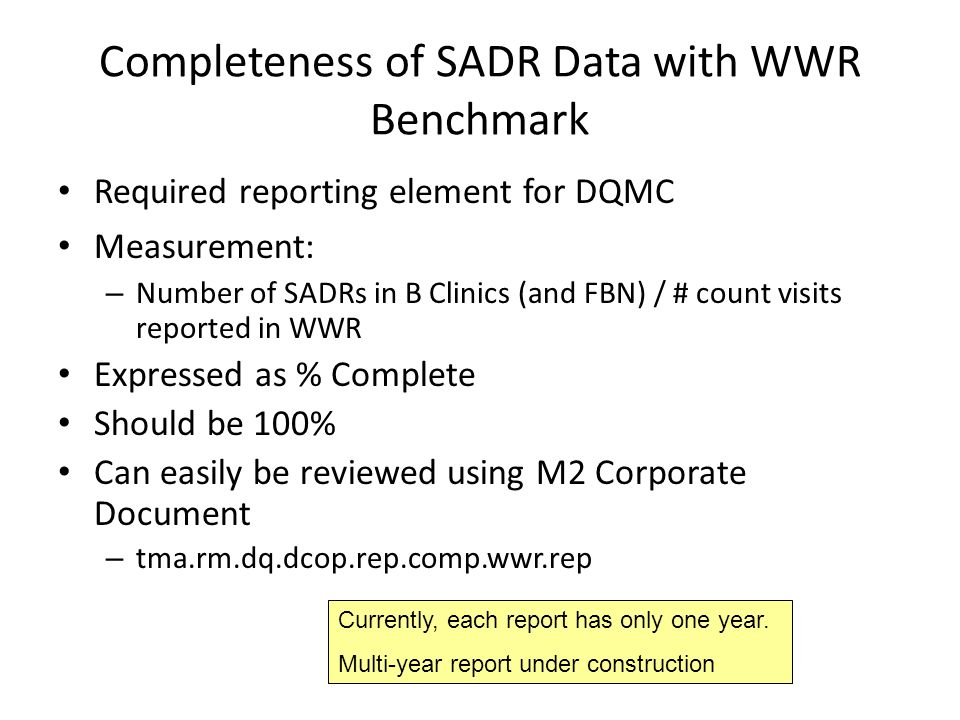Completeness of SADR Data with WWR Benchmark