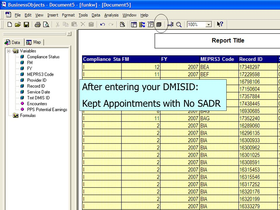 After entering your DMISID: Kept Appointments with No SADR