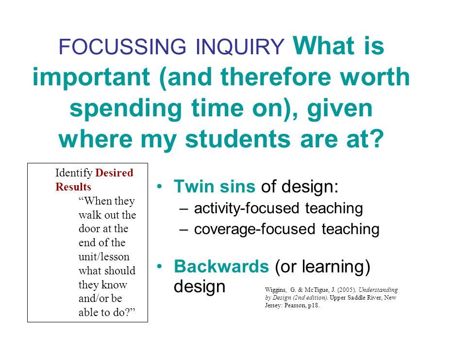 FOCUSSING INQUIRY What is important (and therefore worth spending time on), given where my students are at