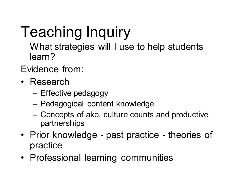 Teaching Inquiry What strategies will I use to help students learn