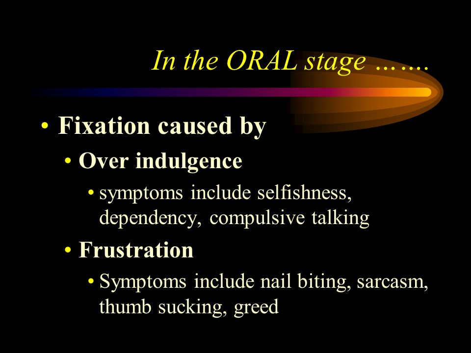 In the ORAL stage ……. Fixation caused by Over indulgence Frustration