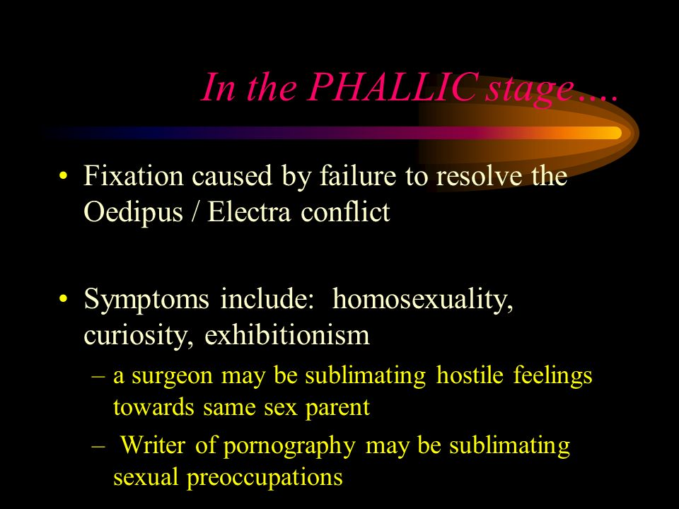 In the PHALLIC stage…. Fixation caused by failure to resolve the Oedipus / Electra conflict.