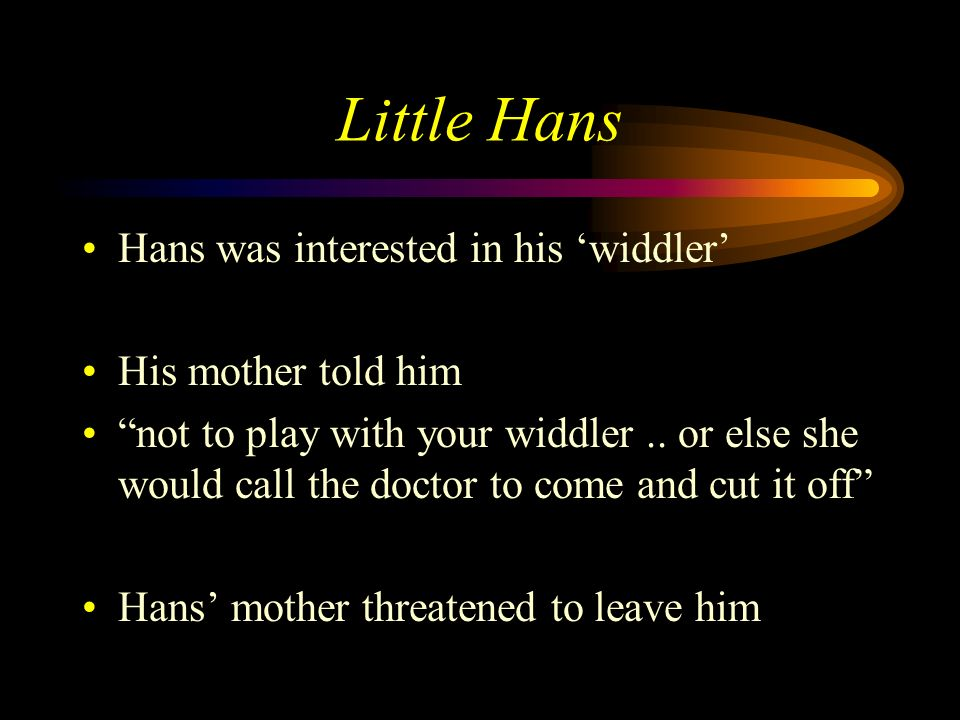 Little Hans Hans was interested in his 'widdler' His mother told him