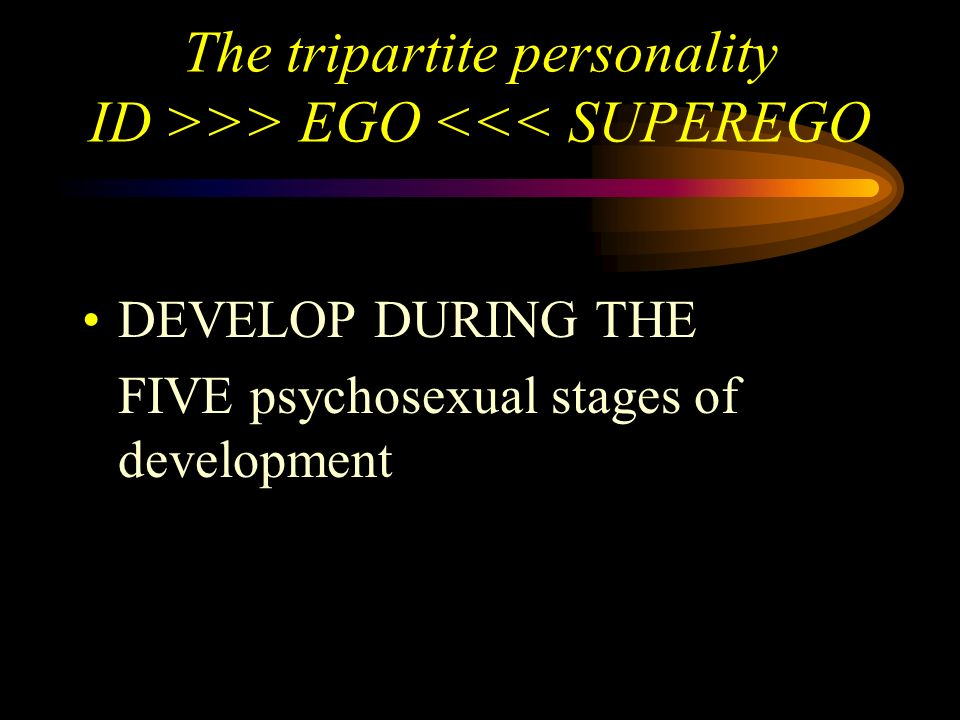 The tripartite personality ID >>> EGO <<< SUPEREGO