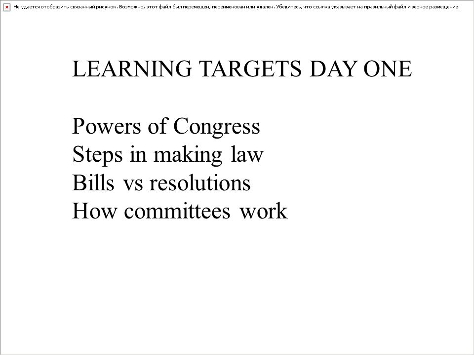 LEARNING TARGETS DAY ONE