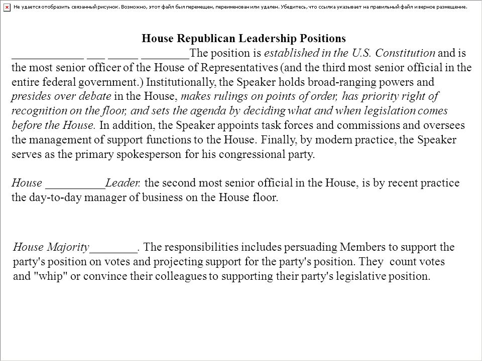 House Republican Leadership Positions