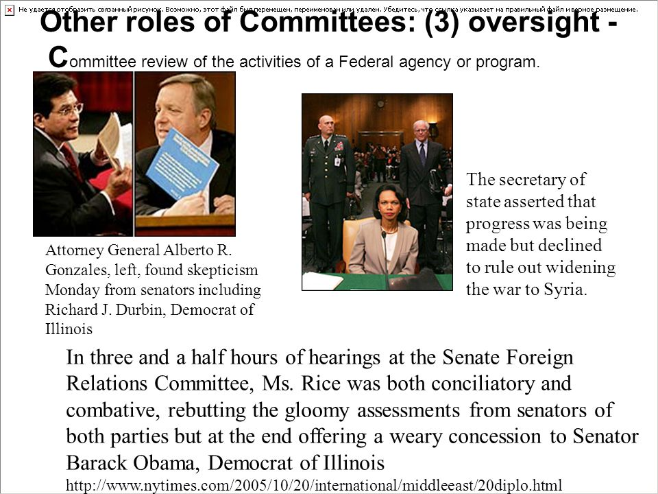 Other roles of Committees: (3) oversight - Committee review of the activities of a Federal agency or program.