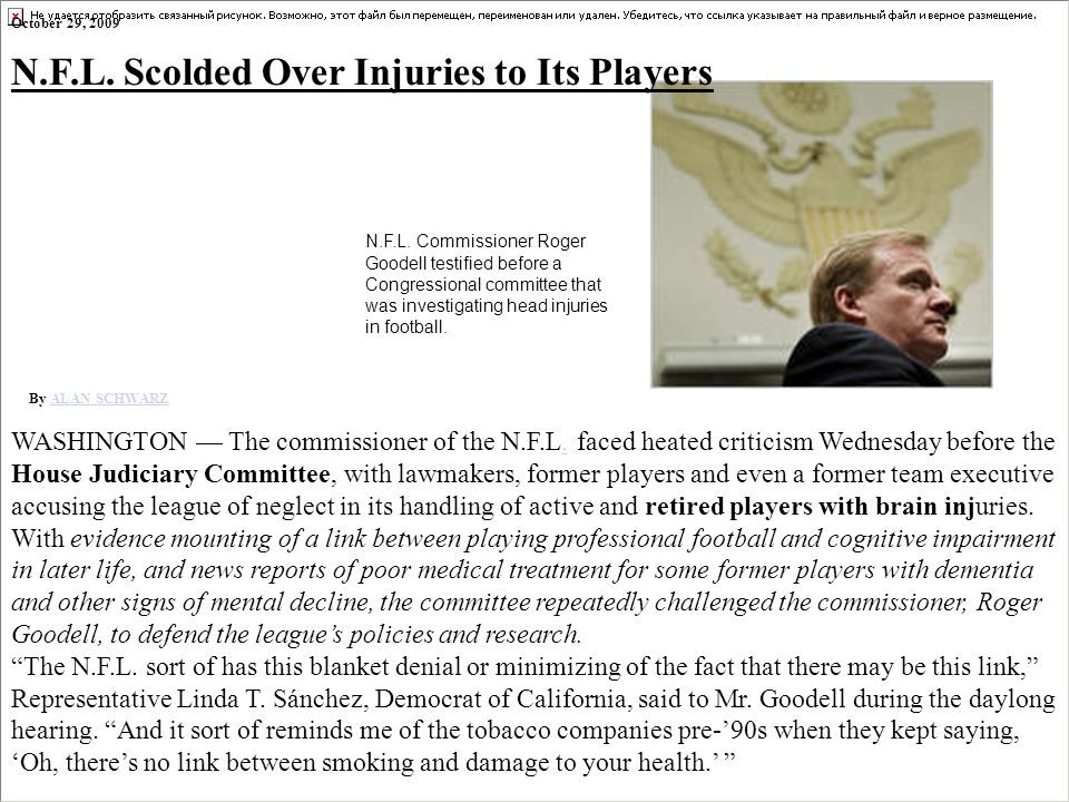 N.F.L. Scolded Over Injuries to Its Players