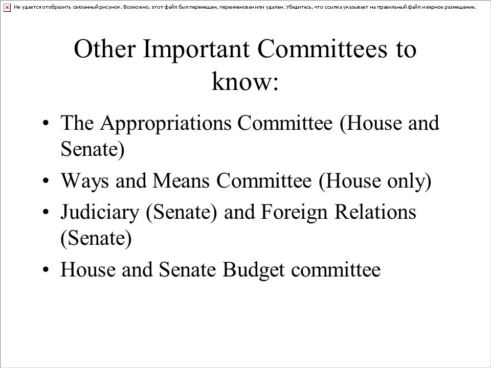 Other Important Committees to know: