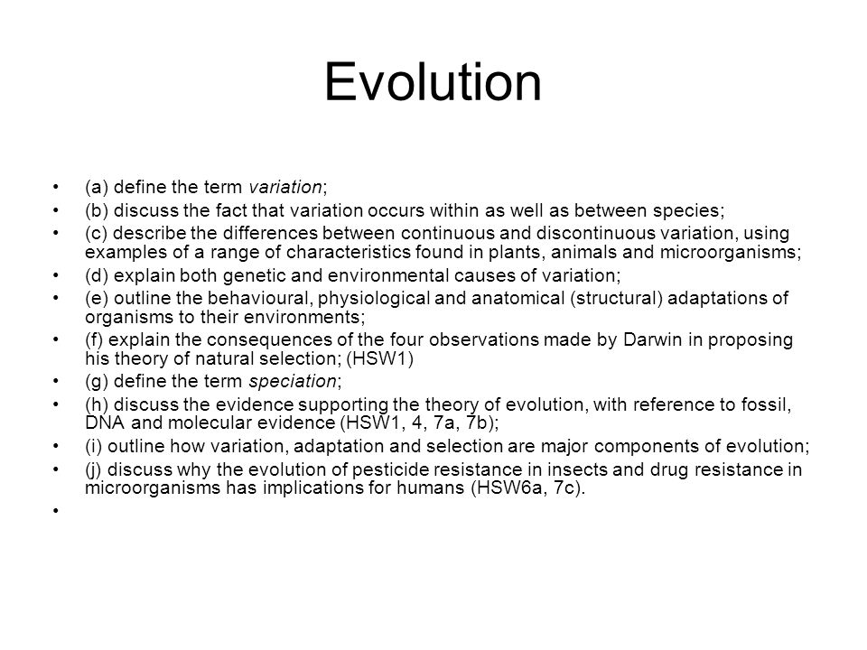 Evolution (a) define the term variation;