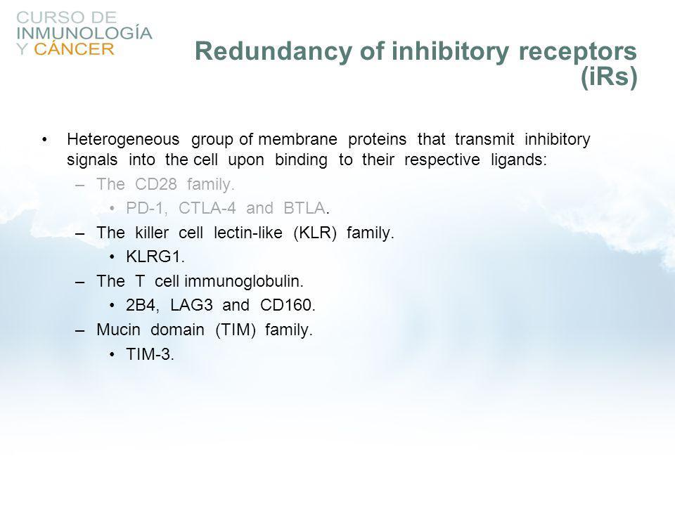 Redundancy of inhibitory receptors (iRs)