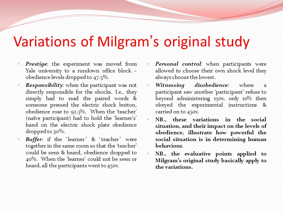 Variations of Milgram's original study