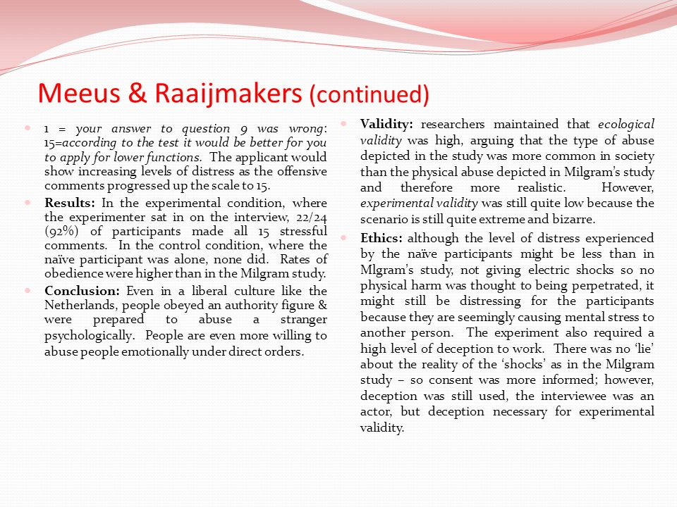 Meeus & Raaijmakers (continued)