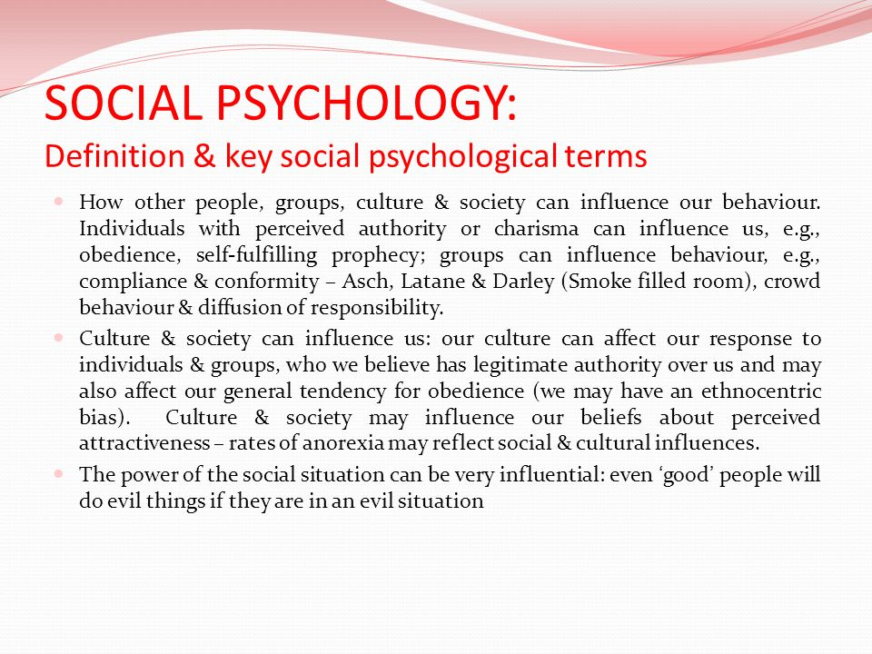SOCIAL PSYCHOLOGY: Definition & key social psychological terms