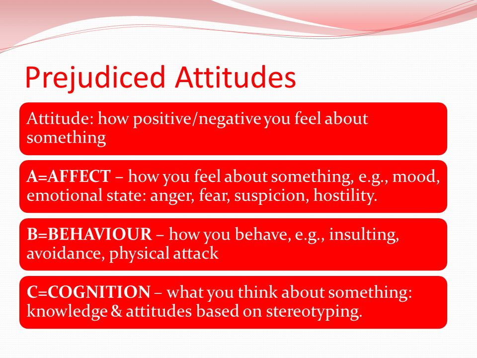 Prejudiced Attitudes Attitude: how positive/negative you feel about something.