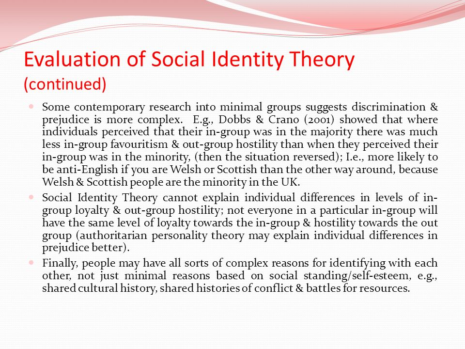 evaluate social identity theory essay Free essays on conflict theory essay   constructionist theories social identity theory and the social constructionist theories  used to evaluate social.