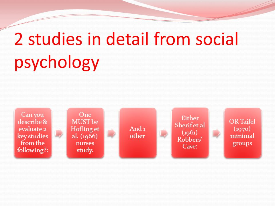 2 studies in detail from social psychology