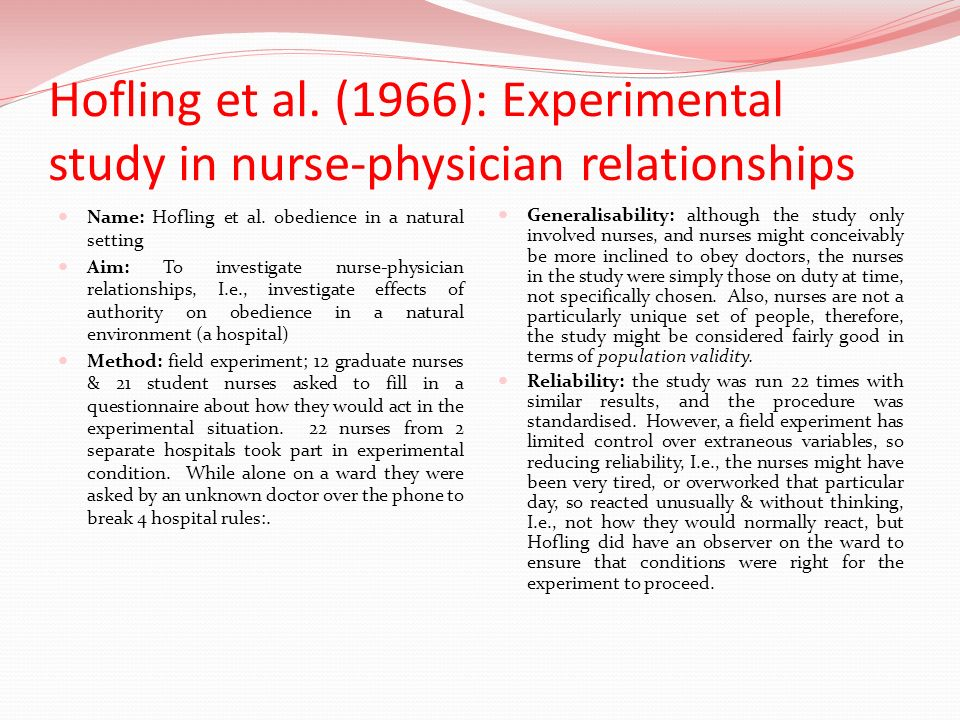 Hofling et al. (1966): Experimental study in nurse-physician relationships