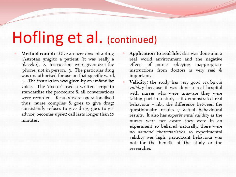 Hofling et al. (continued)