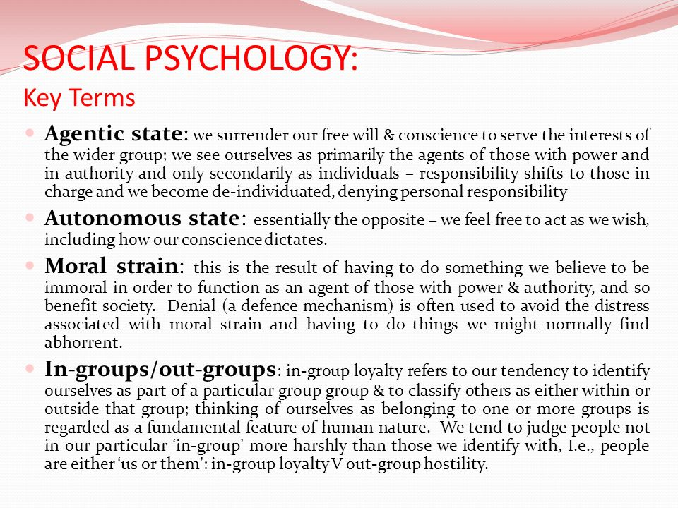 SOCIAL PSYCHOLOGY: Key Terms